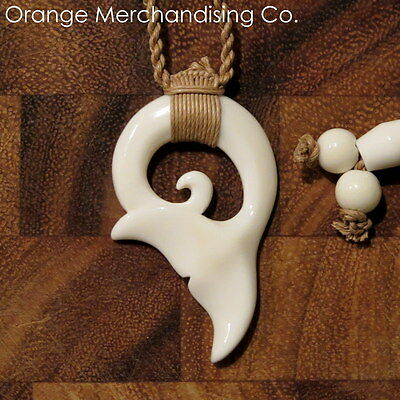 Hawaiian Maori Whale Tail Bone Necklace Pendant Charm Choker Ocean Sea Life A18