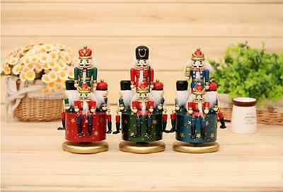8''Vintage Wooden Musicbox Nutcracker Soldier Table Walnut Christmas Gift Decor