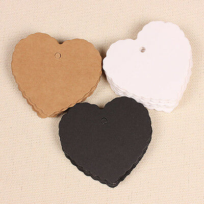 50pcs Retro Heart Craft Paper Tags Scallop Label Luggage Wedding Blank + Strings