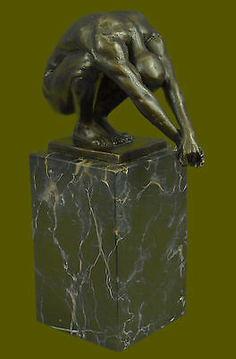 Elegant Male Nude Diver Yoga Praying Man Bookend Bronze Marble Statue Sculpture