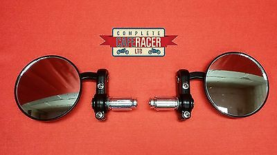 Cafe Racer Round Black Bar End Mirrors