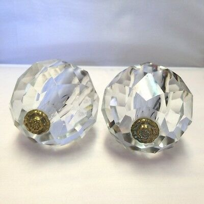 Antique/Vintage Prism Cut Glass and Brass Ball Style Knob Circa 1920's - 1950's • CAD $41.85