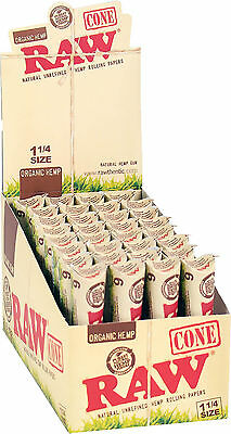 32 Packs of 6 Ea. Classic RAW Rolling Paper Cones Organic Hemp Pre-Rolled 1 1/4