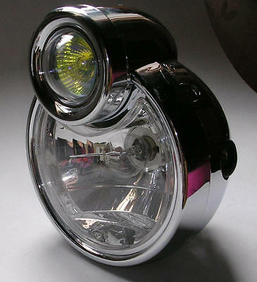 phare moto avant feu pieces chopper bobber lampe light 15cm headlight high