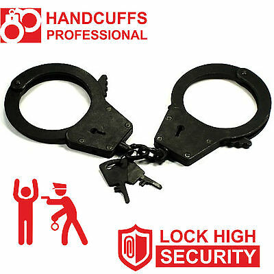 Sale Real Black Handcuff Police Cop Heavy Duty Military Level Duble Lock 2 Keys