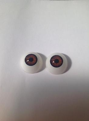 24MM Reborn Doll Eyes Rock A Bye Baby Brown Acrylic Half Rounds FAST SHIPPING