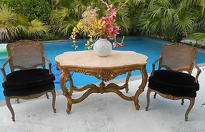Antique Rococo Style, Vintage Italian Gilt Carved Wood & Marble  Console Table