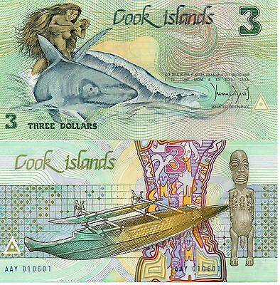 COOK ISLANDS UNC 3 Dollars 1987 p-3