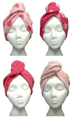 Turbie Twist Cotton Super Absorbent Hair Towels (4 Pack) Pink Heart / Solid