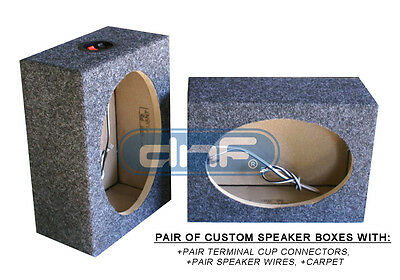 "1 PAIR CUSTOM 6"" x 9"" SQUARE SPEAKER BOX (CARPET + TERMINAL CUPS + SPEAKER WIRE)"