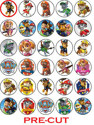 30 Paw Patrol Edible Party Cupcake Decoration Topper PRECUT