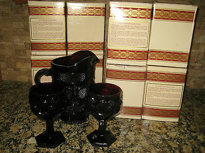 Avon Cape Cod Ruby Red Pitcher & 8 Water Goblets w/Boxes