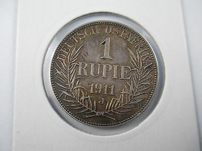 German East Africa 1911 J Silver Rupee Coin, quality a/unc, nice tone. FREE POST
