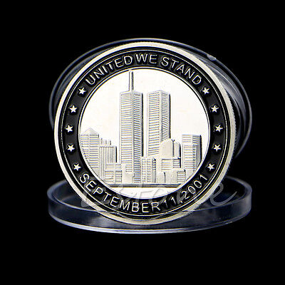 NEW SEPTEMBER 11 9/11 24K .999 Silver Plated COLOURISED COIN 1oz 40mm IN CAPSULE