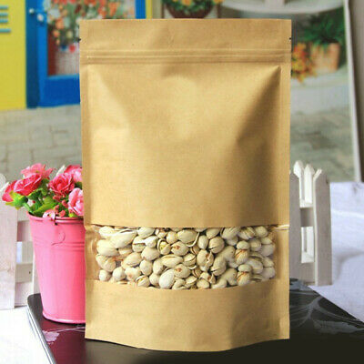 [NEW] Kraft Paper Bags Packaging Stand Up With Zipper for Food Storage 160 x 260