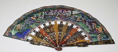 Ab212. Fan Of A Thousand Faces. Wallpaper. Lacquered Wood. China. End 19Th .