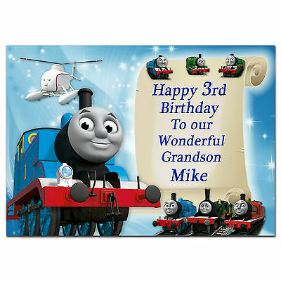 c086 Large Personalised Birthday card; Custom made for any name; Trains /& ships