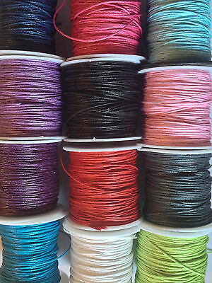 6m length of waxed cotton cord for jewellery making and crafts - choose colour