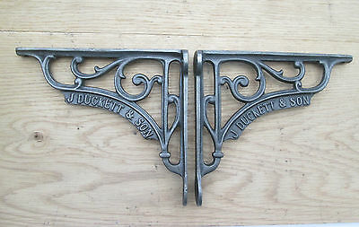 "6"" PAIR of J DUCKETT antique Vintage cast iron shelf bracket Sink Toilet Cistern"