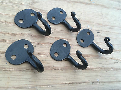 SET OF 5 (40mm) Bean End Old Hand forged black keys robe jewellery hanging hook