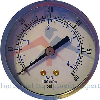"1/8"" NPT Air Compressor / Hydraulic Pressure Gauge 0-60 PSI Back Mount 2"" Face"