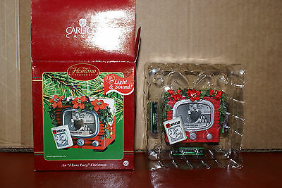 2002 Carlton Cards I Love Lucy TV World Light & Sound Christmas Ornament