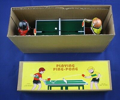 Tin Litho Toy Wind up Playing Ping Pong Schylling NIB