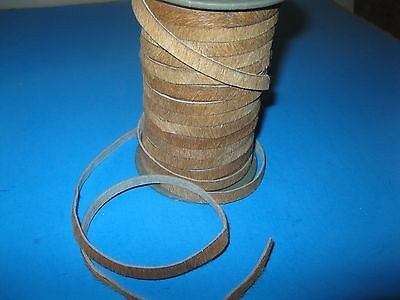 Hair-on leather cord...5 yards of Natural  colored  8mm wide strips.......00000