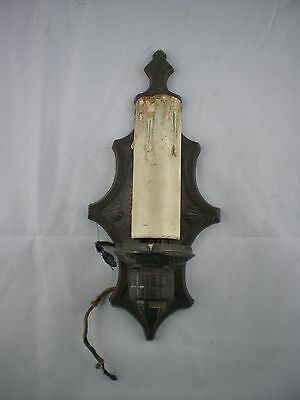 Antique Gold Gilded Ornate Cast Iron Gothic Revival Wall Electric Sconce