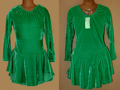 NWT 10y 12y CHILD Ice Roller Skating Dress Green Majorette Dance Costume Leotard