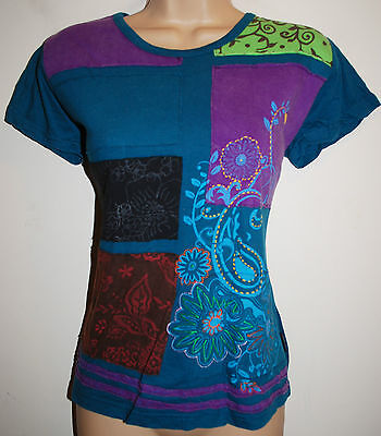 New Fair Trade Top Size 24 26 Hippy Ethnic Printed Cotton Hippie T-Shirt Flower