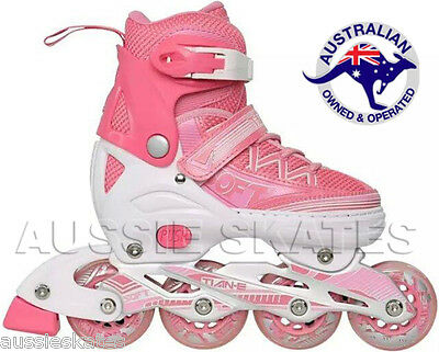 Girls Kids Adjustable Roller Blades Rollerblades Inline Skates Euro 35-38 US 4-6