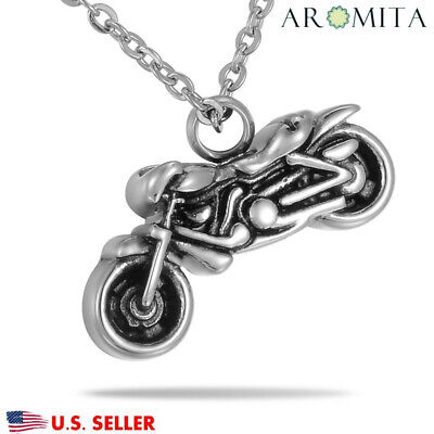 Steel Motorcycle Biker Cremation Jewelry Ashes Keepsake Memorial Urn Necklace