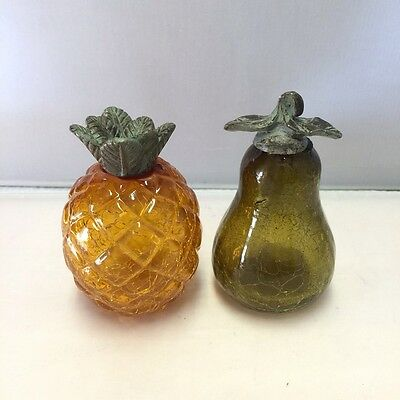 Vintage Crackle Glass Fruit Figurines with Metal Leaves - Pear and a Pineapple