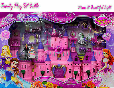 Kids Sleeping Beauty Girl Play Set Castle & Accessories Princess Toy Light+Music