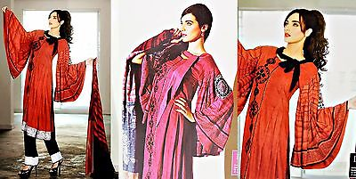 """Sana & Samia Lala """"grooves"""" Unstitched Long Sleeve Dress Suit, Red/cerise (009)"""
