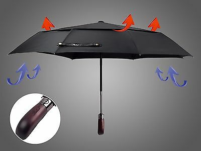 Balios® Handmade Wood Double Canopy Auto Open & Close Windproof Black Umbrella