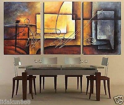 3pc modern abstract huge wall art oil painting on canvas (no frame)
