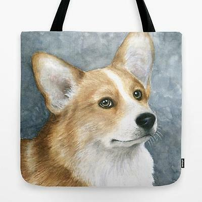 Tote Bag All over print Made in USA Dog 89 Corgi art painting by L.Dumas