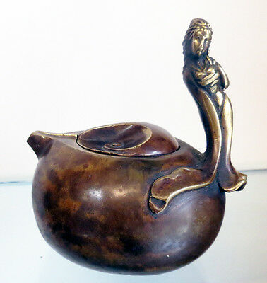 Figural Japanese Bronze Teapot Geisha Girl Handle Circa 1880