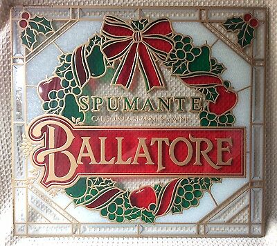 Vtg Stained Glass Ballatore Spumante Wine Sign California Sparkling Christmas