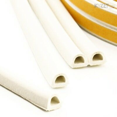 D white Foam Draught Self Adhesive Window Door Excluder Seal Strip Rubber 1-100m