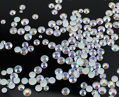 2,3,4,5,mm or Mixed Size AB Iridescent Jelly Rhinestones White Card Making Nail