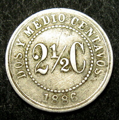 Colombia 2-1/2 Centavos coin 1886 km#182