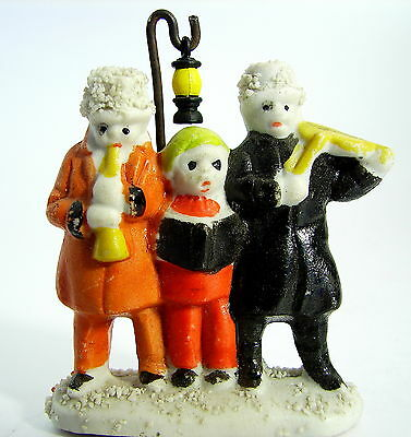 ANTIQUE SNOWBABY:  CAROLERS BY THE LAMPOST a Japanese 1930s or 1940s Variation