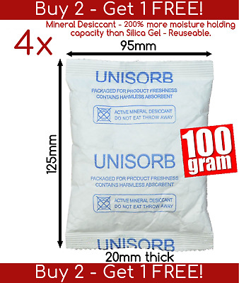4x 100gm 250% more absorbent than Silica Gel Mineral Desiccant Moisture Absorber