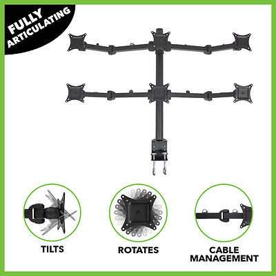 """Hex LCD Monitor Desk Mount Stand Heavy Duty Adjustable 6 Screens upto 24"""""""