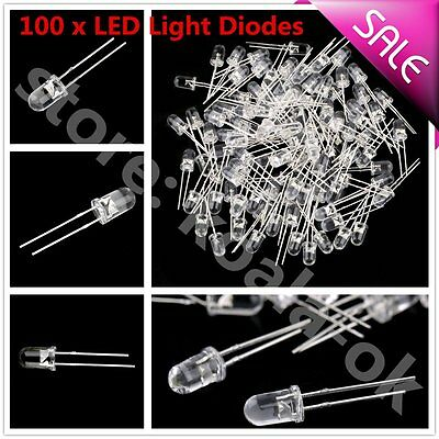 100Pcs 5mm White Ultra-Bright LED Light Lamp Emitting Diodes 15000MCD OY