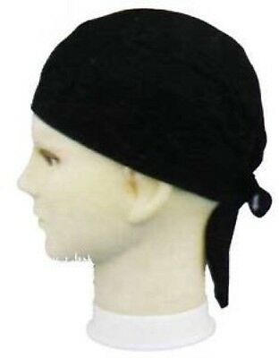 USA BLACK  Solid Fitted COTTON Bandana DURAG Skull Cap