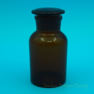 250ml Amber Glass Reagent bottle,Wide mouth,with ground stopper,None Graduation
